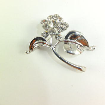 Flower Pin Brooch Crystal Rhinestone Jewelry Leaf Gift for Her Grace Elegance Hat Pin Scarf Jewelry Dress Jewelry Accent Special Occasion