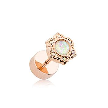 Rose Gold Opal Ornate Multi-Gem WildKlass Faux Plug
