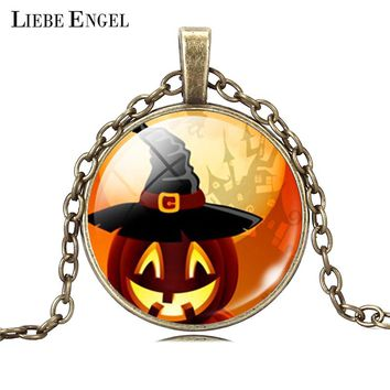 LIEBE ENGEL Vintage Silver Color Jewelry Pumpkin Glass Collares Bronze Chain Statement Necklace&Pendants  Women Halloween Gift