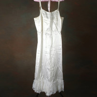 Vintage White Handmade Satin Dress with Lace Ruffle great for Costume Halloween Womens Medium
