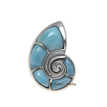 GENUINE NATURAL LARIMAR HAWAIIAN NAUTILUS SHELL SLIDE PENDANT HEAVY 925 SILVER