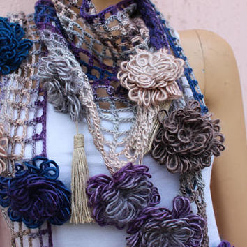BUY 2 GET 1 FREE Floral Scarf Hippie Scarf Filet Scarf Fringe Scarf Burlap Scarf Stylish Knit Scarf EXPReEsS SHIPPIINg