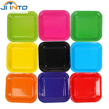 Candy color Diy creative Colored paper plates 7 inch disposable Rectangular plate Wedding Birthday Festival Party supplies