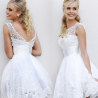 Fashion new white lace bride bridesmaid wedding toast short paragraph wedding dress gown small dress