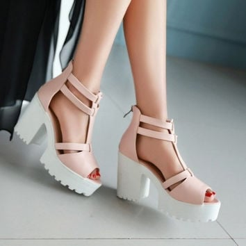 2015 Fatory Discount fish mouth open toe sandals with thick waterproof women party sandals large size 34-43 = 5708939073