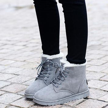 Women Ankle Length Suede Boots With Soft Fur Lining