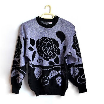 Vintage Floral Rose Sweater Black Lavender Purple Metallic Womens Pullover Small S Medium M Oversized 80s 90s