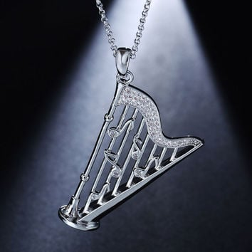 Elegant Fashion Simulated Diamond Music note Harp  Pendant Necklaces White Gold Plated Jewelry for Women Collares