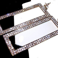 "Rhinestone Dangle Earrings Long Rectangles Wedding Hollywood Glamour 4.5"" Vintage Fashion"