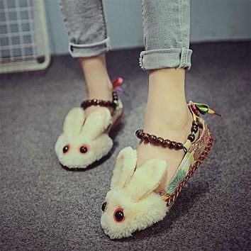 Multicolor Round Toe Flat Beads National Cloth Shoes