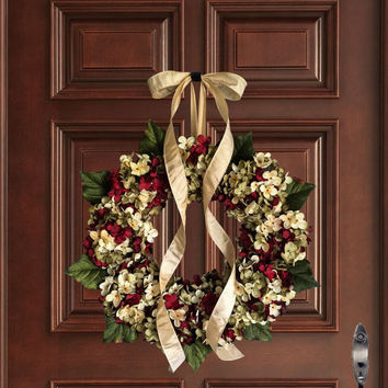 Holiday Wreaths | Christmas Wreath | Blended Hydrangea Wreath | Front Door  Wreath | Seasonal Wreath