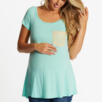 Mint Green Crochet Pocket Maternity Top