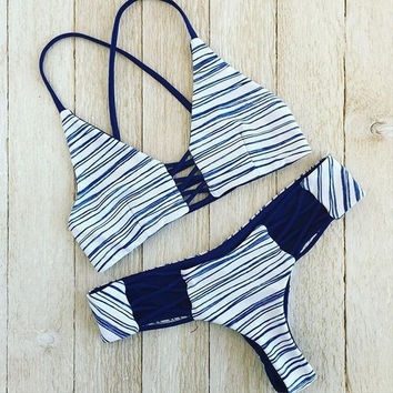 Sexy Summer New Arrival Swimsuit Hot Beach Stripes Swimwear Blue Print Bikini [9909127631]