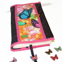 Fabric Book cover with butterflies / Adjustable book sleeve in handmade / Papperback book cover butterflies