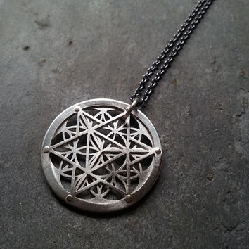 Star Tetrahedron and Flower of Life Pendant - sterling silver and 9ct gold - Handcrafted Sacred Geometry Jewellery