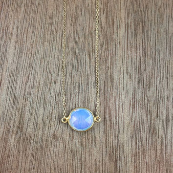 14k gold filled necklace with a 24k gold vermeil opalite bezel connector / bridesmaid / dainty / minimalist / October birthstone