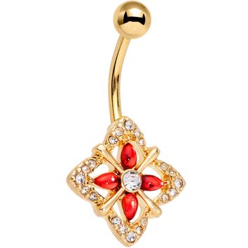 Clear Red Gem Gold Tone Geometric Harmony Belly Ring
