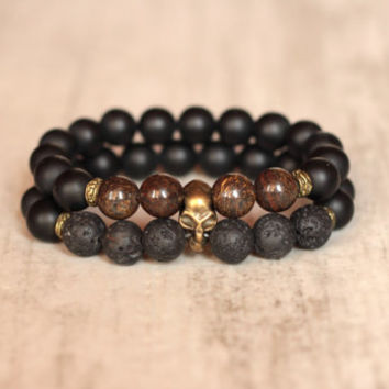 Skull mens bracelet Boyfriend gift Present for man Black bracelet Goth jewelry Agate Bronzite Lava bronze metal For him Brother Friend gift