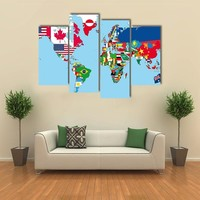 World Map With All States And Their Flags Multi Panel Canvas Wall Art