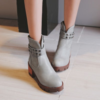 Rivets Chunky Heel Platform Ankle Boots 6984