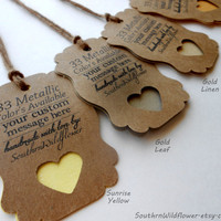 Shades of Yellow and Gold, Custom Pearlescent Gift Tags Sunrize Yellow, Gold, Antique Gold, Gold Linen, Gold Leaf, Wedding Tags, Baby Shower