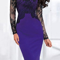 Purple Lace Sleeve Bodycon Midi Dress