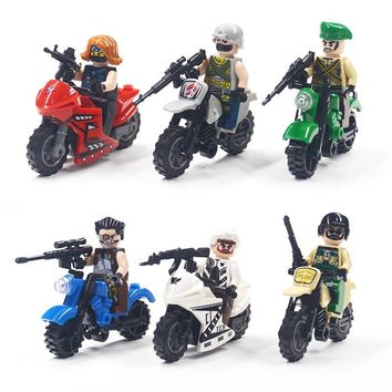 City Military Weapon Building Blocks Brick Series Weapon Gun Motorcycle MOC Model Compatible Legoing DIY Toy For Kids