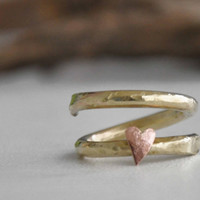 Brass spring ring. OOAK handmade brass ring and copper tiny heart. Ready to ship item.