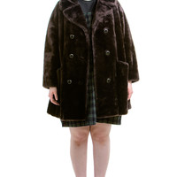 Vintage 60's Walnut Faux Fur Winter Coat - One Size Fits Many