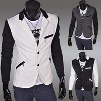 Zip Pockets Two Tone Blazer Jacket