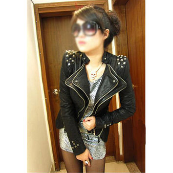 Vintage Hot Punk Grils Cool Rivet Studded Shoulder Motorcycle PU Leather Coat Jacket Black
