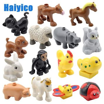 Large particles building blocks accessories farm animals zoo compatible Duplos cat pig dog rabbit monkey hippo sheep Toys gift