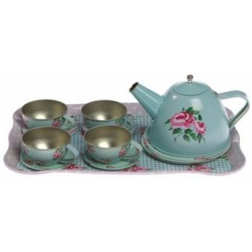Blue Rose Floral Tea Set