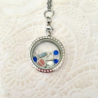 University of Kentucky inspired large stainless steel memory locket locket with choice of chain