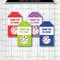 Printable Thank You Tag, Art Party Decorations, DIY, Rainbow, Paint Party, Paint Theme, Artist, Colorful, Favors, Favor Tags, Loot Bag Tag