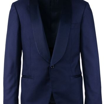 Brunello Cucinelli Navy 100% Cashmere Satin Lapel Suit Jacket