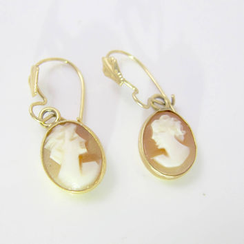 14K Cameo Earrings, Yellow Gold Dangle Drop Earrings, Carved Shell Cameo Pierced Earrings, Gold Cameo Jewelry