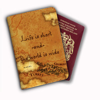 Life Is Short And The World Is Wide World Map Leather Passport Covers