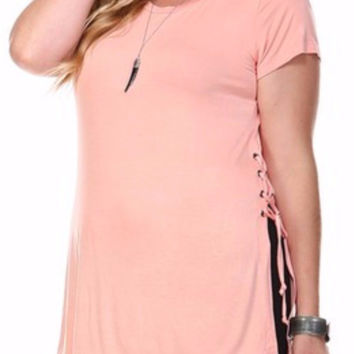 Curve Modal Eyelet Lace-Up Tunic in Peach