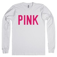 pink text long-sleeve shirt-Unisex White T-Shirt
