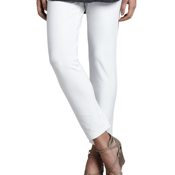 Women's Slim Stretch Crepe Ankle Pants, Petite - Eileen Fisher - White (PL (14/16P))
