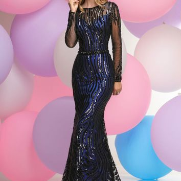Zoey Grey - Sequined Illusion Bateau Neck Dress 30991