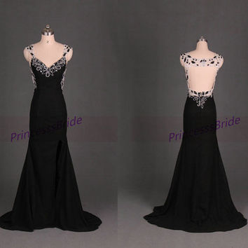 Long black chiffon evening dress with beads,2014 sexy v-neck prom dresses hot,cheap elegant women gowns for party.