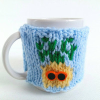 Pineapple Mug Cozy – Knit Coffee Cozy – Pineapple Cup Cozy – Pineapple Kitchen Decor – Cute Mug Cozy – Best Friend Gift – Quirky Gift