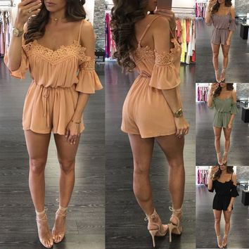 Womens Stylish Lace Strap Romper
