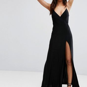 Club L Wrap Front Maxi Dress with Back Detail at asos.com