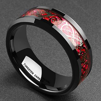 CERTIFIED 8mm Red Carbon Fiber Black Celtic Dragon Tungsten Carbide Ring Wedding Band
