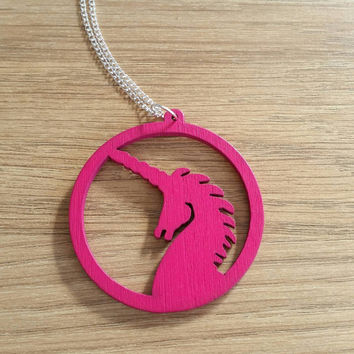 Unicorn Wooden Necklace