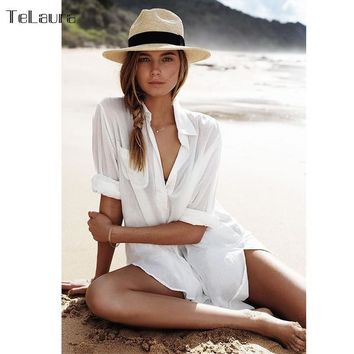 Telaura Cotton Long Sleeve Beach Tunic Dress