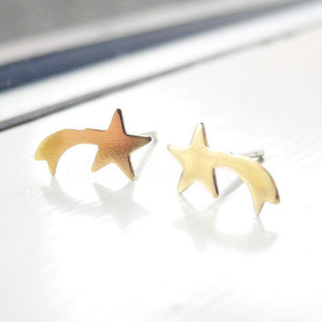 Shooting Star Earrings Studs,Star Earrings,Golden Brass Jewelry,Shooting Stars Jewelry,Tiny Stud Earrings,Hypoallergenic Earrings (E194)